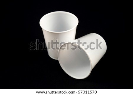 stock pictures of generic and disposable white plastic cups - stock photo