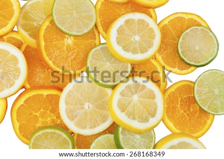 Stock pictures of mixed citrus fruit on a white background, lemon, orange, lime - stock photo