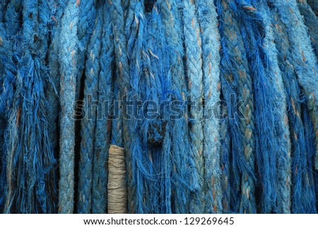 stock pictures of ropes used in ships for protection - stock photo