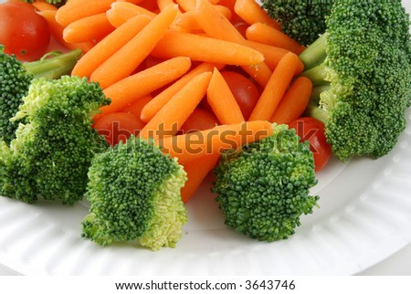 Stock pictures of vegetables ready to be eaten in a tray