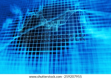 Stock price share price information action on professional trader monitor screen. Colorful collage with financial and business charts and graphs. Finance company background with market data.   - stock photo