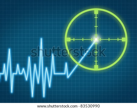 Stock price target aiming to buy the equity from an individual company at the right high price for a profit represented by a chart with crosshairs targeting the rising ticker symbol. - stock photo