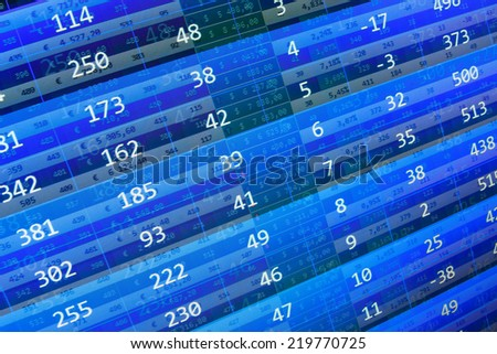 Stock profit graph for diagram. Display of Stock market quotes. Computer spreadsheet. Ticker board. Stock market discussion. Stock market chart on green background. Blue stock market. Data analyzing.  - stock photo