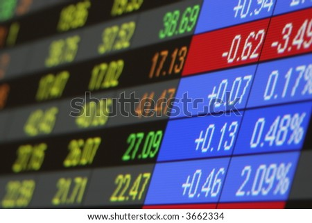Stock Quotes, Real time quotes at the stock exchange - stock photo