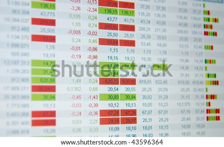 Stock quotes, real time quotes at the stock exchange, market - stock photo