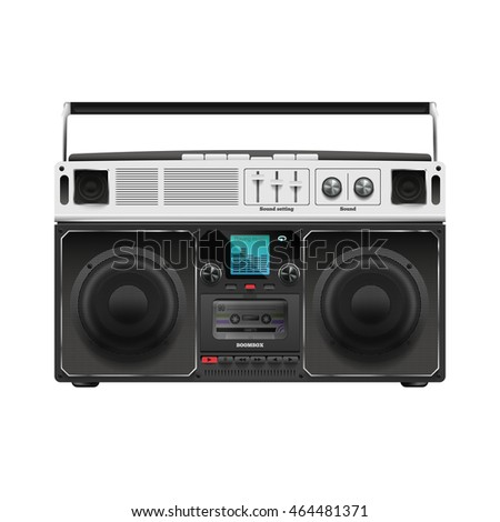 Stock raster illustration boombox. Tape recorder