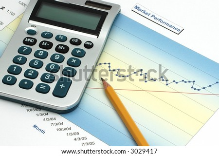 Stock Report with Calculator and Pencil - stock photo