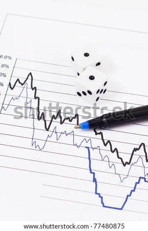 Stock Statistic Graph with Pen and Dice