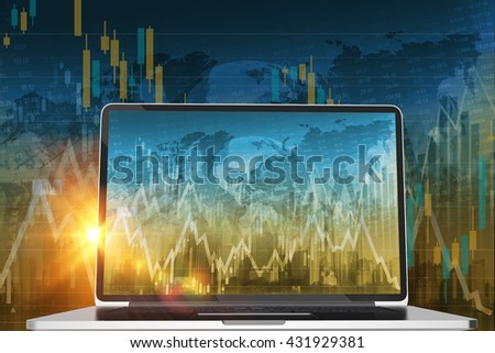 Stock Trader Computer Conceptual 3D Render Illustration. Global Stock and Currency Trading. - stock photo