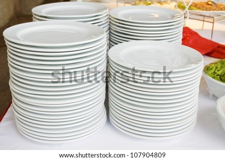 Stock up on a plate of food for many people. - stock photo