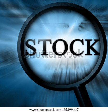stock with magnifier on a blue background - stock photo