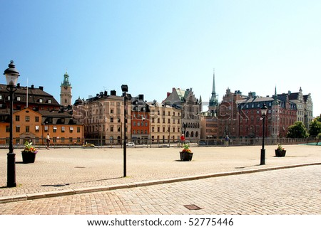 Stockholm. A view to the historic buildings in the old town - stock photo