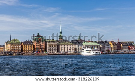 STOCKHOLM - AUGUST 10, 2015: View on Gamla stan (The Old Town). The town dates back to the 13th century and is the main attraction of the city with a rich collection of medieval architecture.