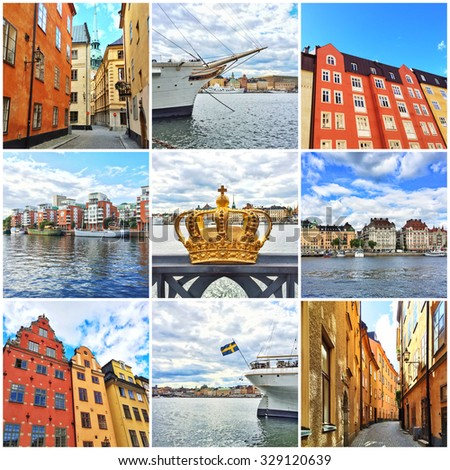 Stockholm, capital of Sweden. Collage of nine photos. - stock photo