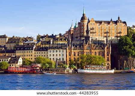 Stockholm city buildings on water - stock photo