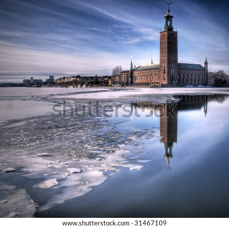 Stockholm city hall in winter. - stock photo