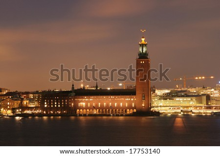Stockholm City Hall (Stadshuset) - venue for the Nobel Prize ceremony - stock photo