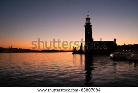 Stockholm City Hall - venue for the Nobel Prize ceremony - at sunset - stock photo