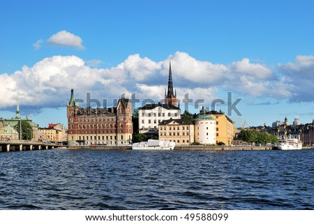 Stockholm in the evening. Island Riddarholmen