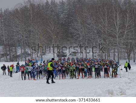 STOCKHOLM - JAN 24, 2016: Large group colorful cross country skiers preparing before the Stockholm Ski Marathon event January 24, 2016 in Stockholm, Sweden