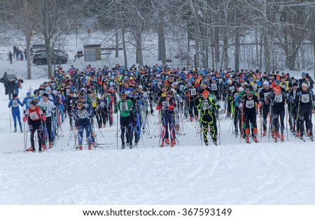 STOCKHOLM - JAN 24, 2016: Large group colorful cross country skiers waiting for the start signal at the Stockholm Ski Marathon event January 24, 2016 in Stockholm, Sweden - stock photo