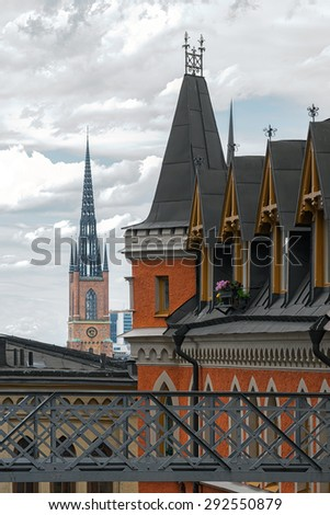 STOCKHOLM - JULY 01, 2015: View over Stockholm Old town with Riddarholmens church tower. From Soder in Stockholm - stock photo