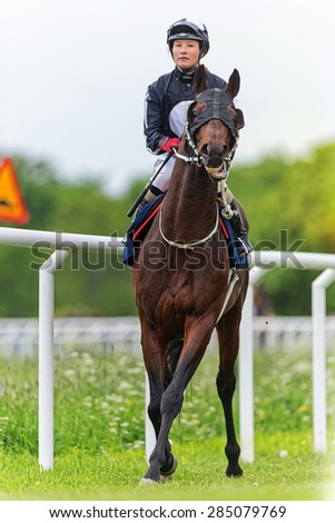 STOCKHOLM - JUNE 6: Jockey and horse during warmup before the horserace at the Nationaldags Galoppen at Gardet. June 6, 2015 in Stockholm, Sweden. - stock photo