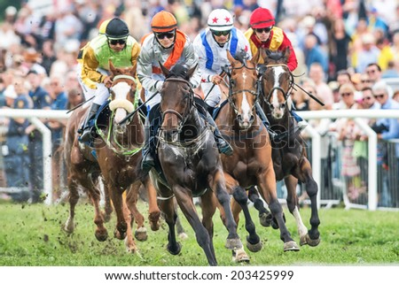 STOCKHOLM - JUNE 6: Jockeys into last curve at the Nationaldags Galoppen at Gardet with the crowd behind. June 6, 2014 in Stockholm, Sweden. - stock photo