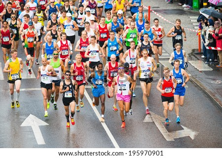 STOCKHOLM - MAY 31: After the start of ASICS Stockholm Marathon 2014. May 31, 2014 in Stockholm, Sweden. - stock photo