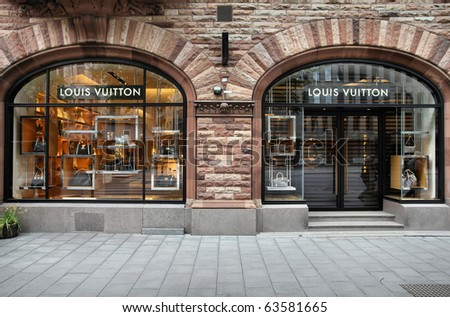 STOCKHOLM - MAY 31: Louis Vuitton store on May 31, 2010 in Stockholm. Forbes says that Louis Vouitton was the most powerful luxury brand in the world in 2008 with $19.4bn USD value. - stock photo
