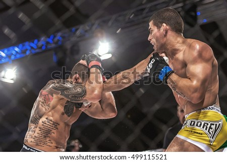 STOCKHOLM - OCT 8, 2016: David Bielkheden vs Luis Ramos at Superior Challenge 14 at Eriksdalshallen in Stockholm.