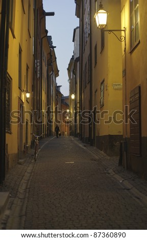 Stockholm Old Town alley.by night - stock photo