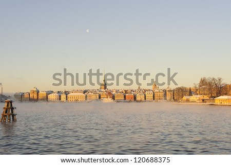 Stockholm old town on a cold and sunny december morning - stock photo