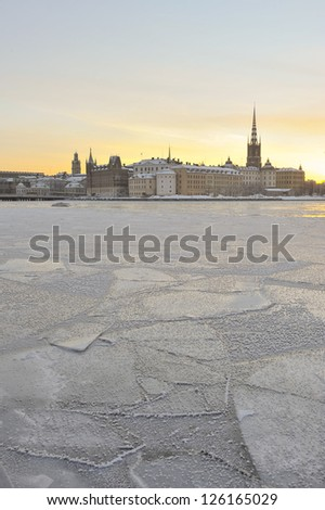 Stockholm Old Town on a sunny winter morning - stock photo