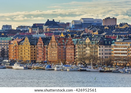 Stockholm Old Town, Sweden. Old colorful houses in Stockholm - stock photo
