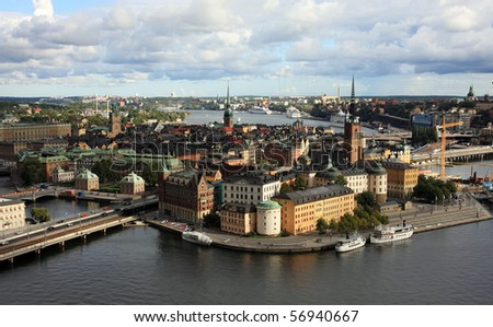 Stockholm panorama from City Hall - stock photo