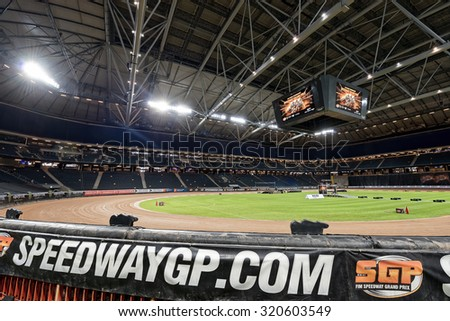 STOCKHOLM - SEPT 25, 2015: The stadium before the practice of the TEGERA Stockholm FIM Speedway Grand Prix at Friends Arena in Stockholm. - stock photo