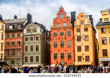 STOCKHOLM - SEPTEMBER 8: oldest medieval Stortorget square in Stockholm, Sweden on September 8, 2014. Stockholm started to be erected around thiis historical central square from 1400 years.