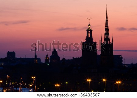 Stockholm Silhouette against the sunset sky. - stock photo