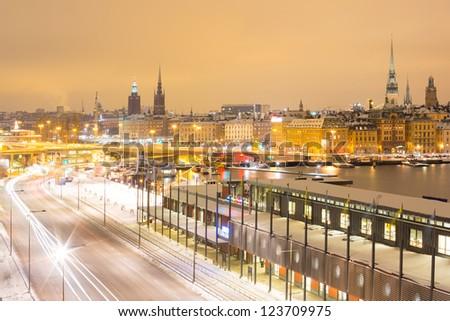Stockholm Skyline Cityscape at Night - stock photo