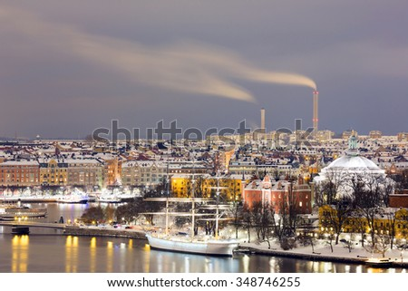 Stockholm Skyline Cityscape at Night Sweden