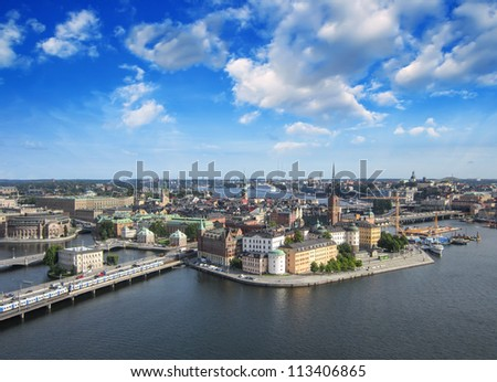 Stockholm, Sweden. Aerial view of the Old Town (Gamla Stan) - stock photo