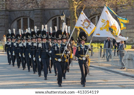 StOCKHOLM, SWEDEN - APRIL 29, 2016: Celebration of Carl XVI Gustaf of Sweden on his 70ths birthday with the Royal guards. - stock photo