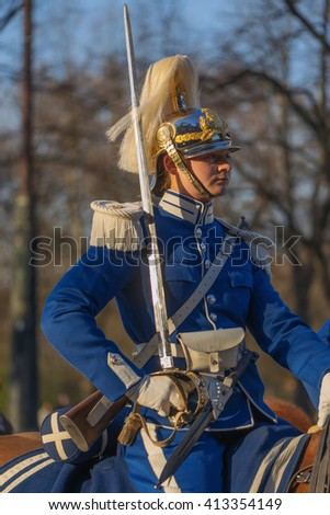 StOCKHOLM, SWEDEN - APRIL 29, 2016: Celebration of Carl XVI Gustaf of Sweden on his 70ths birthday with the Royal guards on horseback.