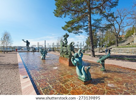 STOCKHOLM, SWEDEN - APRIL 26: Entrance at Millesgarden with statues of the sculptor Carl Milles. April 26, 2015 in Stockholm, Sweden. Created by world famous Swedish sculptor Carl Milles (1875-1955). - stock photo