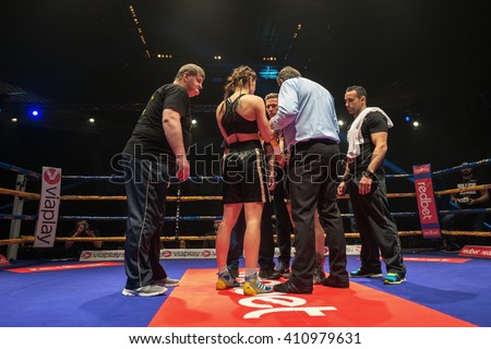 STOCKHOLM, SWEDEN - APRIL 23, 2016: Female proffesional boxing between Angelique Hernandez (SWE) and Karina Kopinska (POL) Bantamweight. Kopinska won
