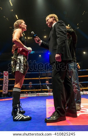STOCKHOLM, SWEDEN - APRIL 23, 2016: Nordic fight night boxing between Klara Svensson (SWE) and Lucia Morelli (GER) Super Lightweight. Klara Svensson won