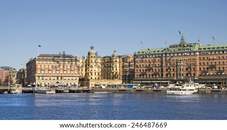 STOCKHOLM, SWEDEN - APRIL 14, 2010: View of the center of the city with Svenska Handelsbanken AB main building and Grand Hotel - stock photo