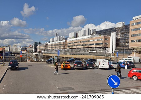 STOCKHOLM, SWEDEN - AUG 25,  2014:Area near Stockholm Central Station. Station serves both commuter and long-distance routes. It is connected to T-Centralen, central hub for subway, bus station - stock photo