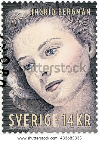 STOCKHOLM, SWEDEN - AUGUST 20, 2015: A stamp printed in Sweden shows Ingrid Bergman (1915-1982), actress - stock photo